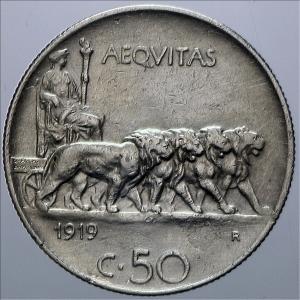 reverse: Casa Savoia. Vittorio Emanuele III. 50 centesimi 1919 Rigato. Conservazione superiore alla norma.Rf