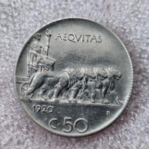 reverse: Casa Savoia. Vittorio Emanuele III. 50 centesimi 1920 rigato. SPL+. R in questa qualit. Rf