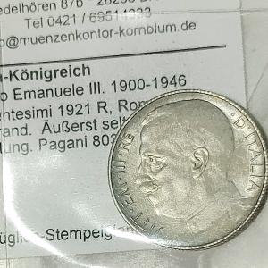 obverse: Casa Savoia. Vittorio Emanuele III. 50 centesimi 1921 Rigato. Con cartellino accompagnatorio in cons. SPL-FDC. R in questa qualit. Rf10