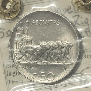 reverse: Casa Savoia. Vittorio Emanuele III. 50 centesimi 1925 Rigato. qFDC segnetti. Periziata Numismatica Tintinna Rf10