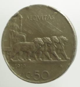 obverse: Casa Savoia. Vittorio Emanuele III. 50 Centesimi 1919 bordo liscio.MB.R