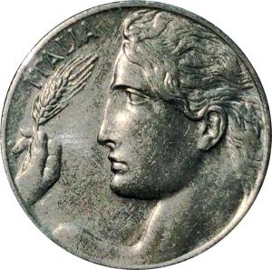 obverse: Casa Savoia. Vittorio Emanuele III. 20 centesimi 1919 Libert librata. qFDC. NC. rf