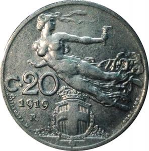 reverse: Casa Savoia. Vittorio Emanuele III. 20 centesimi 1919 Libert librata. qFDC. NC. rf