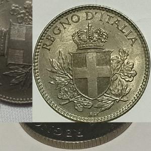 obverse: Casa Savoia. Vittorio Emanuele III.20 centesimi 1918 EsagonoFDC.Rigato.Eccezionale. Ribattuto su 1894R.R. rf