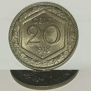 reverse: Casa Savoia. Vittorio Emanuele III.20 centesimi 1918 EsagonoFDC.Rigato.Eccezionale. Ribattuto su 1894R.R. rf