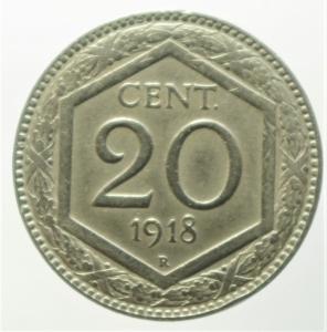 obverse: Casa Savoia. Vittorio Emanuele III. 20 centesimi Esagono 1918. Contorno rigato. BB+. NC.