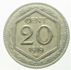 obverse: Casa Savoia. Vittorio Emanuele III. 20 centesimi 1919 parzialmente rigato.qBB.