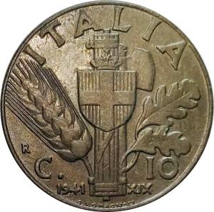 reverse: Casa Savoia. Vittorio Emanuele III. 10 centesimi 1943 FDC. Eccezionale.rf
