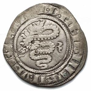 obverse: Milano. Gian Galeazzo Visconti. 1385-1402. Sesino. Ag. D/ Biscione, ai lati G-Z. R/ Croce.CNI 81\83. Peso gr. 1,05 Diametro mm. 18,5. BB+.