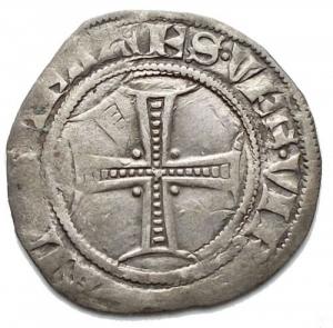 reverse: Milano. Gian Galeazzo Visconti. 1385-1402. Sesino. Ag. D/ Biscione, ai lati G-Z. R/ Croce.CNI 81\83. Peso gr. 1,05 Diametro mm. 18,5. BB+.