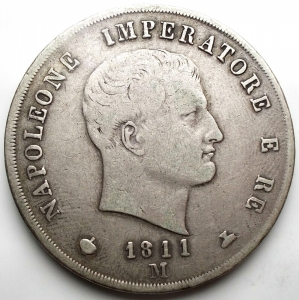 obverse: Milano - NAPOLEONE I. 5 LIRE 1811 Ag