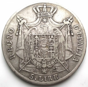 reverse: Milano - NAPOLEONE I. 5 LIRE 1811 Ag