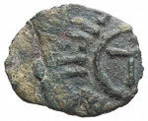 obverse: Mileto. Ruggero I. 1072-1101. Frazione di Follaro AE. D/ Grande T. R/ Croce. gr 1,29. MIR 494. Raro. Decentratura. BB+. Patina verde