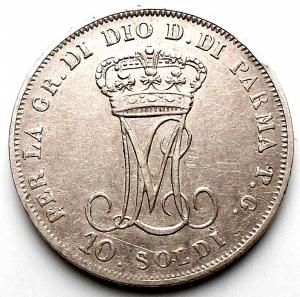 reverse: Parma. Maria Luigia. 10 Soldi 1815 Ag