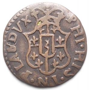 obverse: Piacenza. Filippo di Borbone. 1748-1765. Sesino Cu. Peso gr. 1,03. BB+