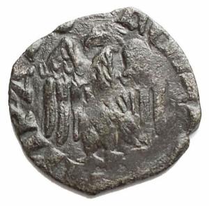 reverse: Pisa. Sec. XIV-XV. Quattrino attribuito a Federico I (1313-1494) Variante B nel campo. BB+. R. gr 0,50. mm 12,1 x 12,5
