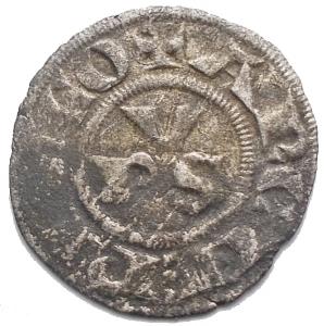obverse: Ravenna (sec. XIII) Denaro. D/ PVS. R/ Croce. Gr. 0.48. MI. Biaggi 1966.