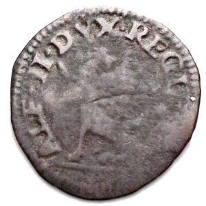obverse: Reggio Emilia. Alfonso II. 1559-1597. Sesino con l'unicorno. MI. MIR 1347. Peso gr. 0,75. qBB. Raro