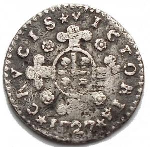 reverse: Savoia. Vittorio Amedeo II (1680-1730). Mezzo reale sardo 1727, Torino. MIR 911. B. 779. AG. g. 1.07 mm. 15.14 RR. BB+.