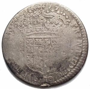 reverse: Savoia - Vittorio Amedeo II (Reggenza della madre 1675-1680). 1/2 lira 1677. MIR 839c. AG. g 2,74. mm 21,35. MB. R