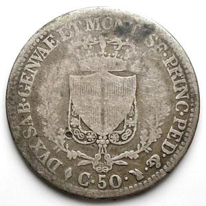 reverse: Carlo Felice 50 centesimi 1826 Torino Ag