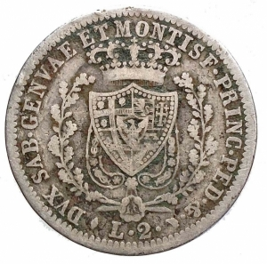obverse: Savoia. Carlo Felice 2 LIRE 1827 TORINO Ag. Raro