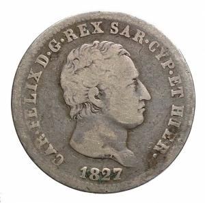 reverse: Savoia. Carlo Felice 2 LIRE 1827 TORINO Ag. Raro