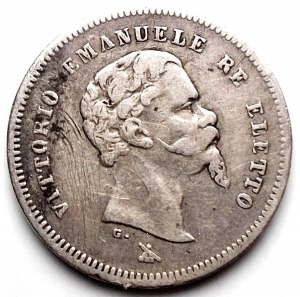 obverse: Vittorio Emanuele II Re Eletto. 50 Centesimi 1860 Firenze. BB