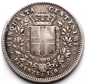 reverse: Vittorio Emanuele II Re Eletto. 50 Centesimi 1860 Firenze. BB