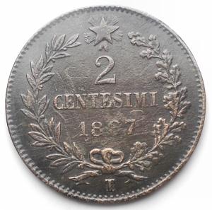 reverse: Savoia - Vittorio Emanuele II.  2 Centesimi 1867. Torino. BB-SPL. R.