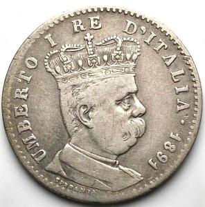 obverse: COLONIA ERITREA - Umberto I - 1 Lira 1891 Ag