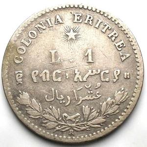 reverse: COLONIA ERITREA - Umberto I - 1 Lira 1891 Ag