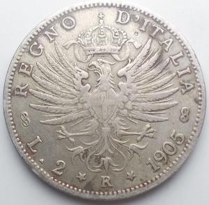 reverse: Vittorio Emanuele III. 2 Lire 1905. Aquila Sabauda. Pagani 729. BB
