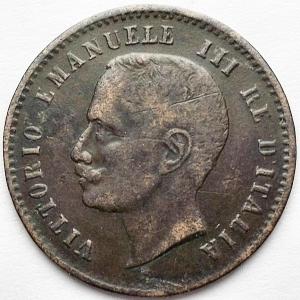 reverse: Savoia. Vittorio Emanuele III (1900-1943), 2 Centesimi, Roma, 1907; CU (g 1,96; mm 20,08); Pagani 929; MIR 1167d. qBB-BB. Molto raro