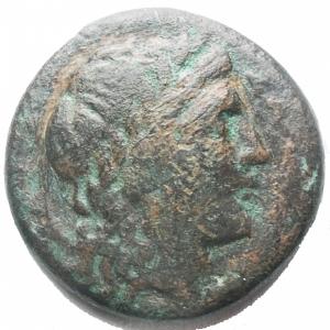 obverse: Apulia, Salapia. AE 19,7 mm. ca. 225-210 a.C. D/ Testa di Apollo a destra. Davanti, ΣAΛAΠINΩN. R/ Cavallo a destra. Sopra, un tridente. Sotto, ΠYΛΛOY. HN (Italy) 692. g. 6,0.