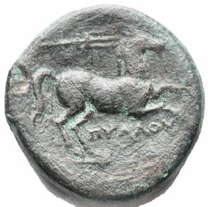 reverse: Apulia, Salapia. AE 19,7 mm. ca. 225-210 a.C. D/ Testa di Apollo a destra. Davanti, ΣAΛAΠINΩN. R/ Cavallo a destra. Sopra, un tridente. Sotto, ΠYΛΛOY. HN (Italy) 692. g. 6,0.