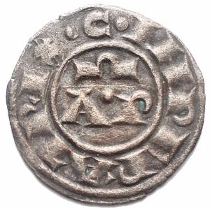 obverse: Brindisi. Enrico VI di Svevia e Costanza di Altavilla 1195-96. Denaro MI g 0,74, mm 17,1. d/ C IMPERATRIX  Nel campo AP sopra omega r/ HE IMPERATOR Croce con stelle. MEC 14, 485