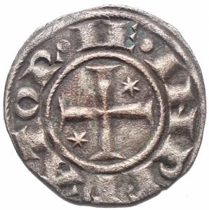 reverse: Brindisi. Enrico VI di Svevia e Costanza di Altavilla 1195-96. Denaro MI g 0,74, mm 17,1. d/ C IMPERATRIX  Nel campo AP sopra omega r/ HE IMPERATOR Croce con stelle. MEC 14, 485