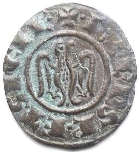 reverse: Brindisi. Federico II. 1197-1250. Denaro 1244, con testa nuda a destra e aquila. MI. gr 0,68. mm 16,09 x 17,57. Sp. 128. Buona conservazione