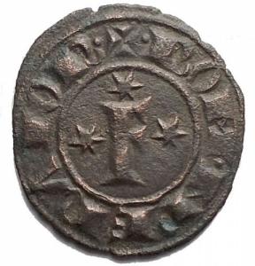 obverse: Zecche Italiane. Brindisi. Federico II (1198-1250). BI Denaro del 1249. (16,1 x 17,6mm, 0.77 g). d/ Grande F , tre stelle. r/ Croce, 4 stelle. Spahr 150. BB++