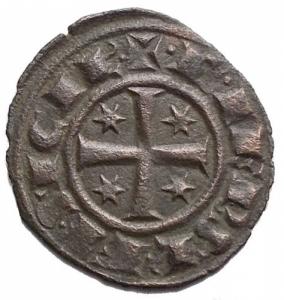 reverse: Zecche Italiane. Brindisi. Federico II (1198-1250). BI Denaro del 1249. (16,1 x 17,6mm, 0.77 g). d/ Grande F , tre stelle. r/ Croce, 4 stelle. Spahr 150. BB++
