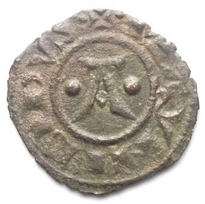 obverse: Brindisi. Manfredi Denaro con A, prima del 1263. gr 0,64. Spahr 193