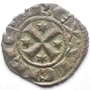reverse: Brindisi. Manfredi Denaro con A, prima del 1263. gr 0,64. Spahr 193