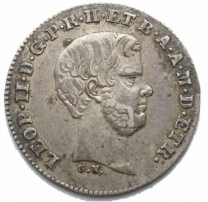 obverse: Firenze. Leopoldo II (1824-1859). 1/2 paolo 1857. Pag. 160. R. AG. Bei fondi. Patina. SPL
