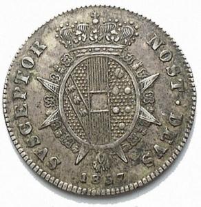 reverse: Firenze. Leopoldo II (1824-1859). 1/2 paolo 1857. Pag. 160. R. AG. Bei fondi. Patina. SPL