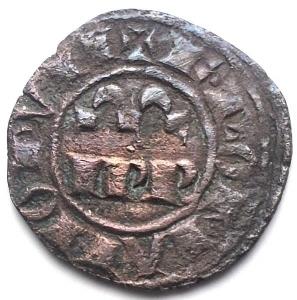obverse: Messina Federico II (1197-1250) Denaro del 1245. D/ IPR. R/ Croce, nei quarti crescenti. Sp.135. MI, 1,05 gr. BB+