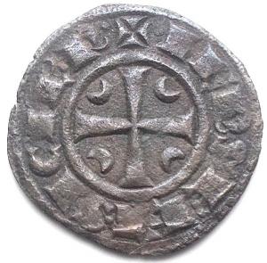 reverse: Messina Federico II (1197-1250) Denaro del 1245. D/ IPR. R/ Croce, nei quarti crescenti. Sp.135. MI, 1,05 gr. BB+