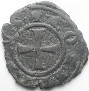 reverse: Messina. Corrado I (1250-1254) Denaro. D/ REX. R/ Croce. MI, 0.52 gr. Sp.156. BB. Patina