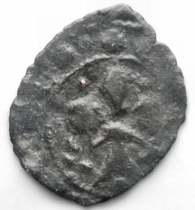 obverse: Messina Carlo I d  Angiò (1266-1285) Denaro. D/ Croce. R/ Giglio. Sp.55. MI, 0.43 gr. R.