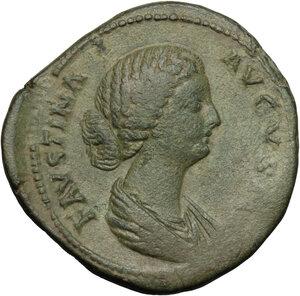obverse: Faustina II, wife of Marcus Aurelius (died 176 AD).. AE Sestertius, struck under Marcus Aurelius